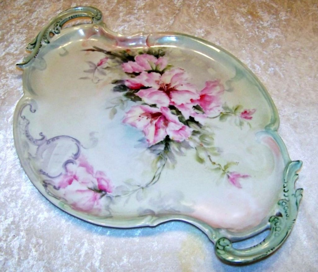 """Spectacular & Large Limoges France 1900's  Hand Painted """"Pink Azalea"""" 17"""" Fancy Scallop Tray by the Artist, """"M.R."""""""