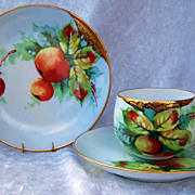 "Exceptional Bavaria 1900's Hand Painted ""Red & Green Crabapples"" Matching Cup,Saucer, & Plate by the Artist, ""AMY"""