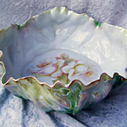 "Vintage RS Germany 1920's Green Irredescent 9-3/4"" Lettuce Leaf Bowl With ""White Roses With Peach Highlights"""