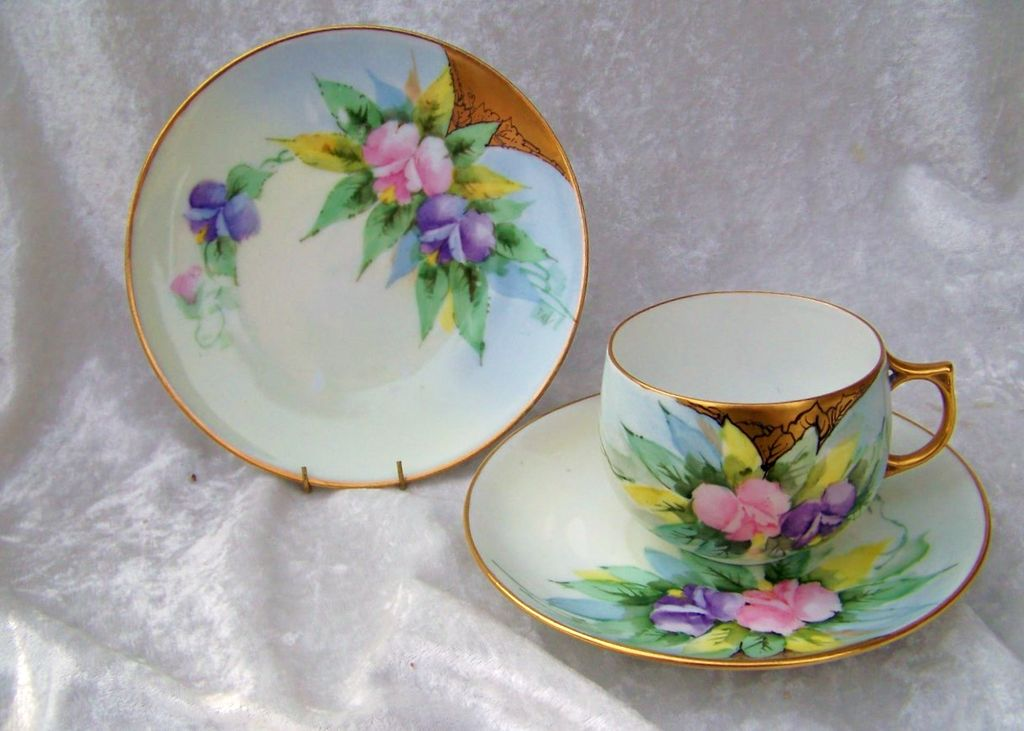 "Outstanding Bavaria 1900's Hand Painted ""Pink & Lavender Flowers"" Matching Cup,Saucer, & Plate by the Artist, ""TAV"""