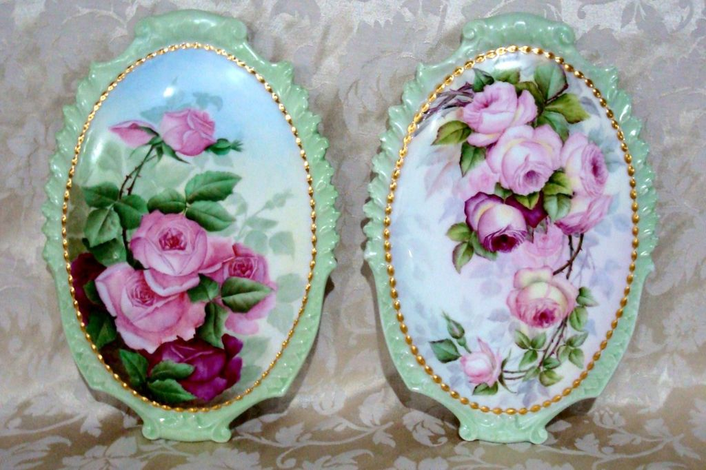 "Spectacular Vintage 1904 Limoges France Hand Painted ""Deep Red & Pink Roses"" 13-3/4"" X 9-1/2"" Plaque by the Artist, ""S.B.C."""