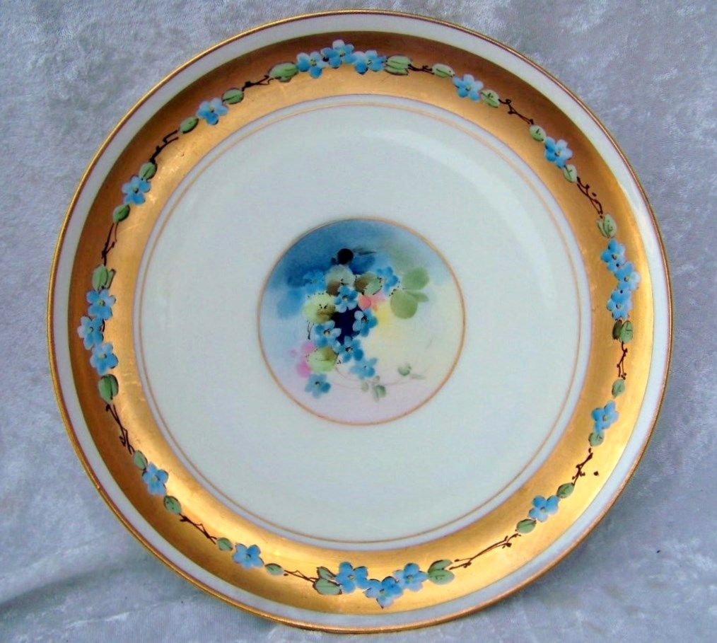 "Vintage Haviland France 1900's Hand Painted ""Violets"" & Heavy Gold  9-1/4"" Plate by the Listed Decorating Studio; White's Art Co. of Chicago"