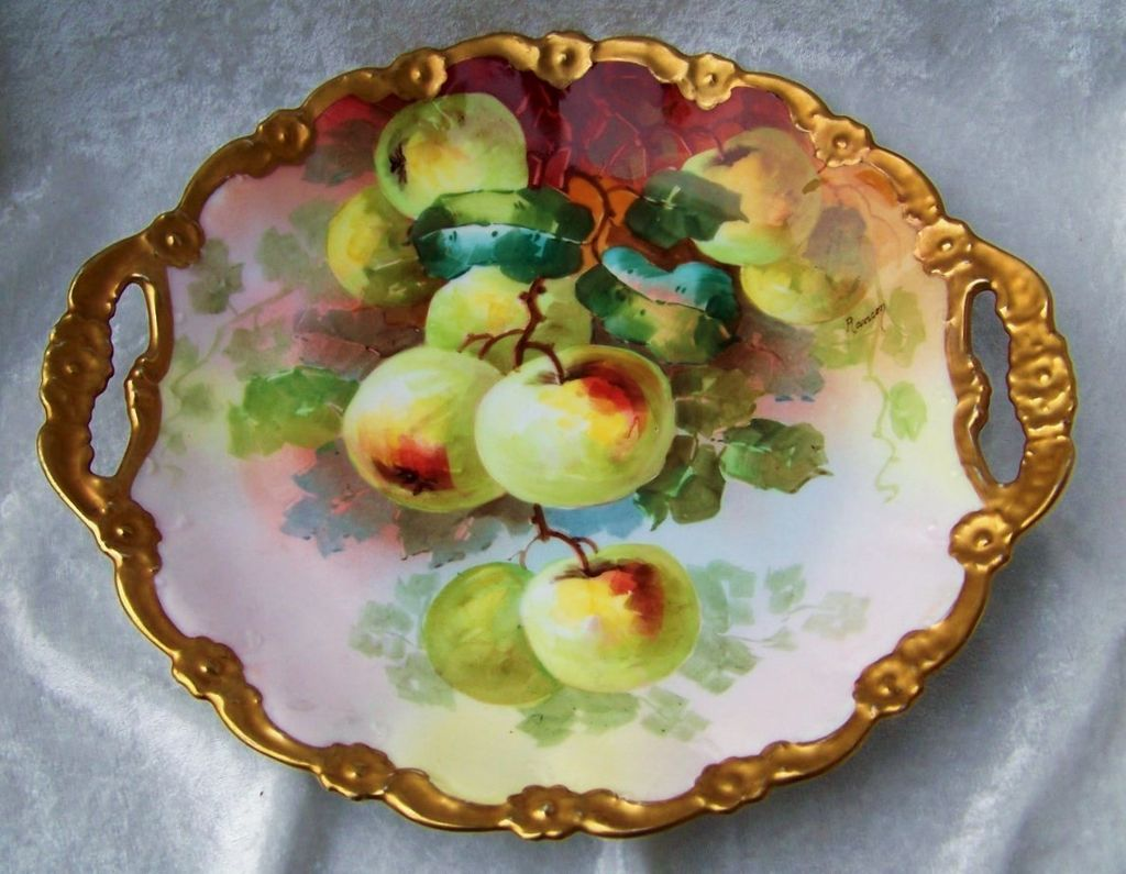 "Wonderful Vintage Limoges France 1900's Hand Painted Vibrant ""Apple Decor"" 11-1/2"" Heavy Gilded Plate by the Well Known French Artist, ""Rancon"""
