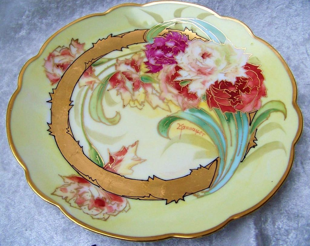 "Gorgeous Vintage 1910 Chicago's Julius Brauer Studio Hand Painted ""Red & White Roses"" 8-3/8"" Plate by the Listed Artist, ""Kammermayer"""