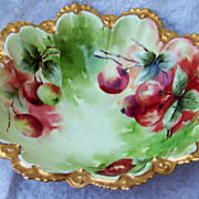 "Exquisite MZ Austria Hand Painted Vibrant ""Red & Green Apple"" 10-3/4"" Bowl by the Chicago Artist, ""R.H. Dorothy"""