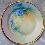 "Beautiful Vintage 1900's J & C Bavaria & Osborne Studio of Chicago Vibrant Hand Painted ""Forget Me Not"" 7-3/4"" Plate by the Artist, ""Osborne"""