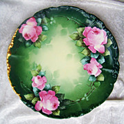 "Vintage 1900's J.P.L. France Limoges Hand Painted ""Pink Roses"" 9-3/4"" Plate by the Listed Artist, ""Edward Donath"""
