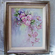 "Impressive & Large Limoges Hand Painted ""Pink & Lavender Sweet Pea"" 10"" X 7-7/8"" Plaque by the Renown Artist, ""Maria Garcia"""
