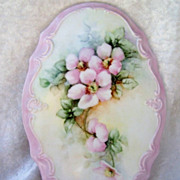 """Pretty & Large Limoges 1950-1970's Hand Painted """"Wild Pink Roses"""" 9-1/4"""" X 6-1/4"""" Plaque by the Renown Artist, """"Maria Garcia"""""""