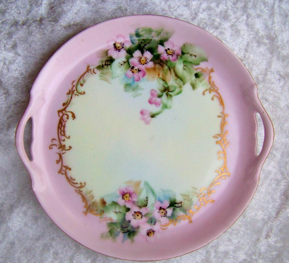 "Gorgeous Vintage 1900's Vienna Austria Hand Painted ""Wild Pink Roses"" 7-1/2"" 2-Handle Tray by the Artist, ""Brown"""