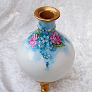 "Stunning Bavaria 1900's Hand Painted ""Pink Roses & Forget Me Not Flowers"" 5-1/4"" Footed Vase, by the Artist, ""Haley Parker"""