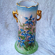 "Exceptionally Decorated Limoges Hand Painted ""Blue Columbine"" 9-1/8"" Vase by the Artist, ""Maryann"""