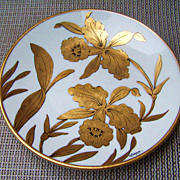 "Attractive J.H. Stouffer & Co. 1900's Hand Painted ""Golden Orchid"" 7-7/8"" Plate by the Listed Artist, ""M.L. Lawence"""