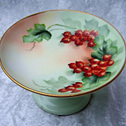 "Beautiful Vintage GOA France Limoges 1900's Hand Painted Vibrant Berry ""Red Currant"" Pedestal Compote by the Artist, ""Hong"""