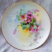 "Colorful Vintage 1900's H & Co. Bavaria Hand Painted Vibrant ""Wild Pink Roses"" 8-5/8"" Plate by Pickard Artist, ""Arthur Rhodes"""
