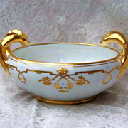 "Attractive & Fancy Vintage 1906 Bavaria & J.H.Stouffer Studio of Chicago Hand Painted ""Floral & Geometric Gold Decor"" 6-1/4"" Bowl by the Stouffer Listed Artist, ""Ethel Honey"""