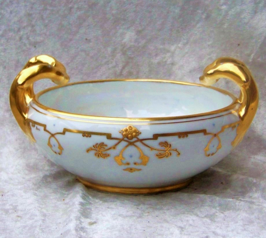 """Attractive & Fancy Vintage 1906 Bavaria & J.H.Stouffer Studio of Chicago Hand Painted """"Floral & Geometric Gold Decor"""" 6-1/4"""" Bowl by the Stouffer Listed Artist, """"Ethel Honey"""""""