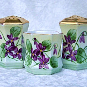 "Outstanding RS Prussia [C.S.] 1900's Hand Painted ""Violets"" 3-Pc Condiment Set of Salt & Pepper Shaker & Matching Tooth pick Holder, by Artist, ""F.Boyd"""