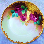 "Gorgeous Vintage 1900's Haviland France Vibrant ""Deep Red Roses"" 7-/2"" Hand Painted Bowl"
