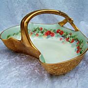 "Attractive Vintage T & V Limoges France 1900's Hand Painted ""Red Currant"" 9"" Gilded Gold Handle Basket"