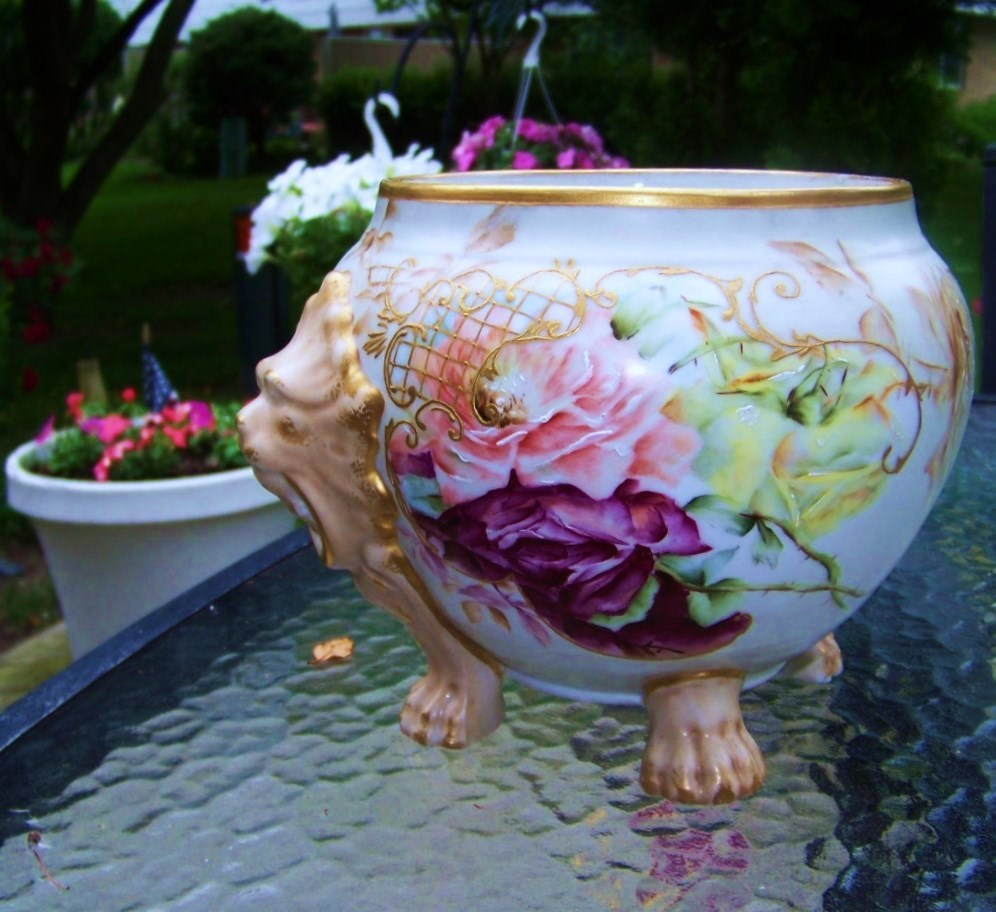 "Beautiful Vintage Limoges France 1895 Hand Painted Vibrant ""Red, Peach, & Yellow Roses"" 10-3/4"" Wide Jardiniere With Lion Handles & Feet by the Artist, ""I.S."""
