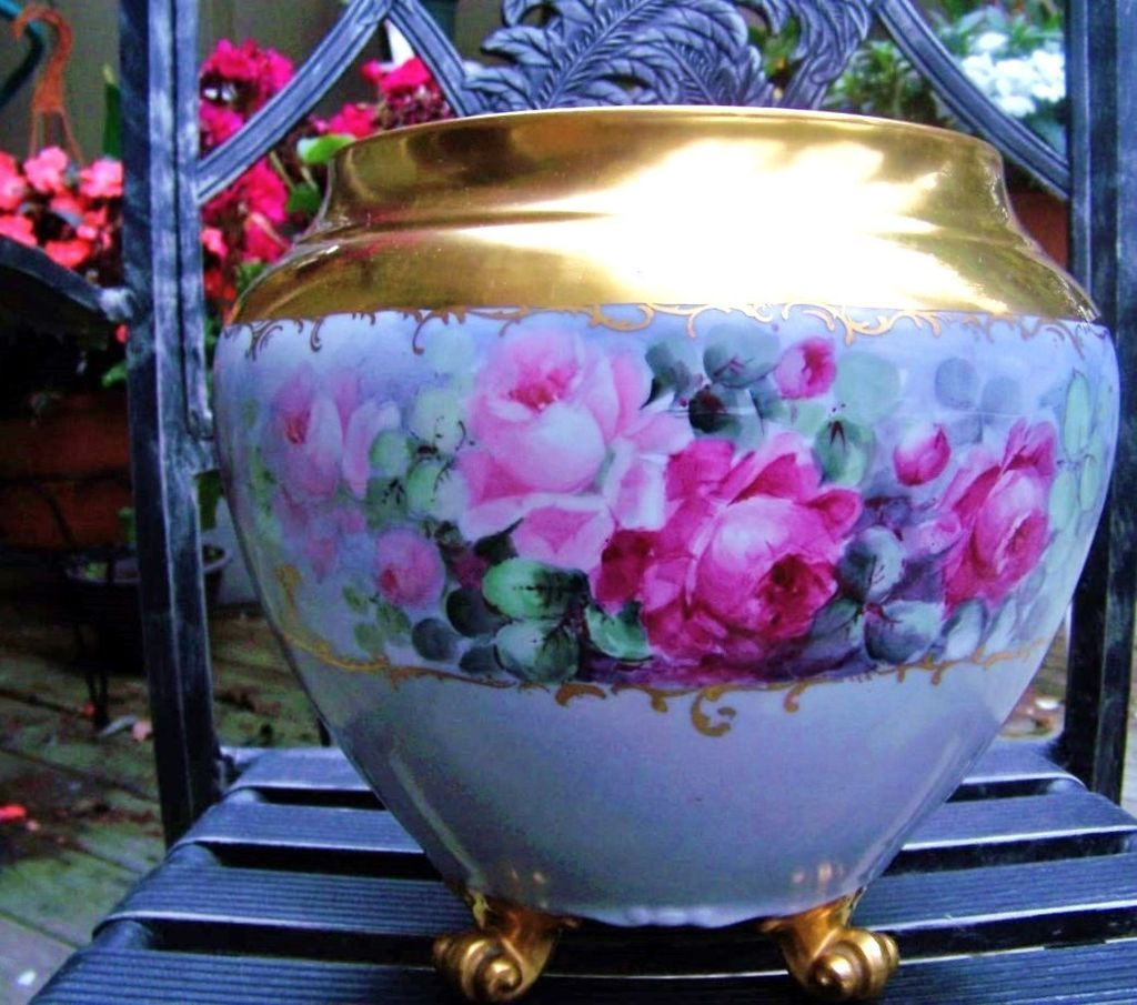 "Spectacular B & Co. France Limoges 1900's Hand Painted Vibrant ""Red, Pink, & White Roses"" 10-5/8"" Tall 4-Footed Jardiniere"