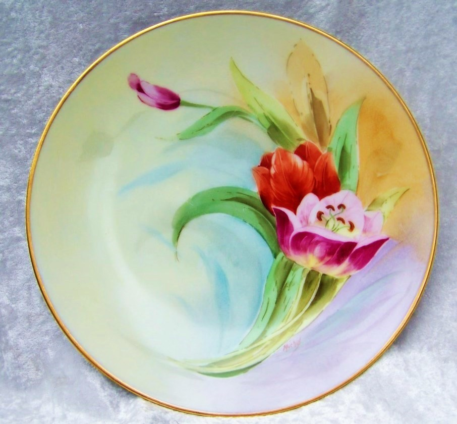 "Gorgeous 1900's Thomas Bavaria Hand Painted Vibrant ""Purple & Red Tulips"" 10"" Plate by the Pickard Listed Artist, ""Harry Michel"""