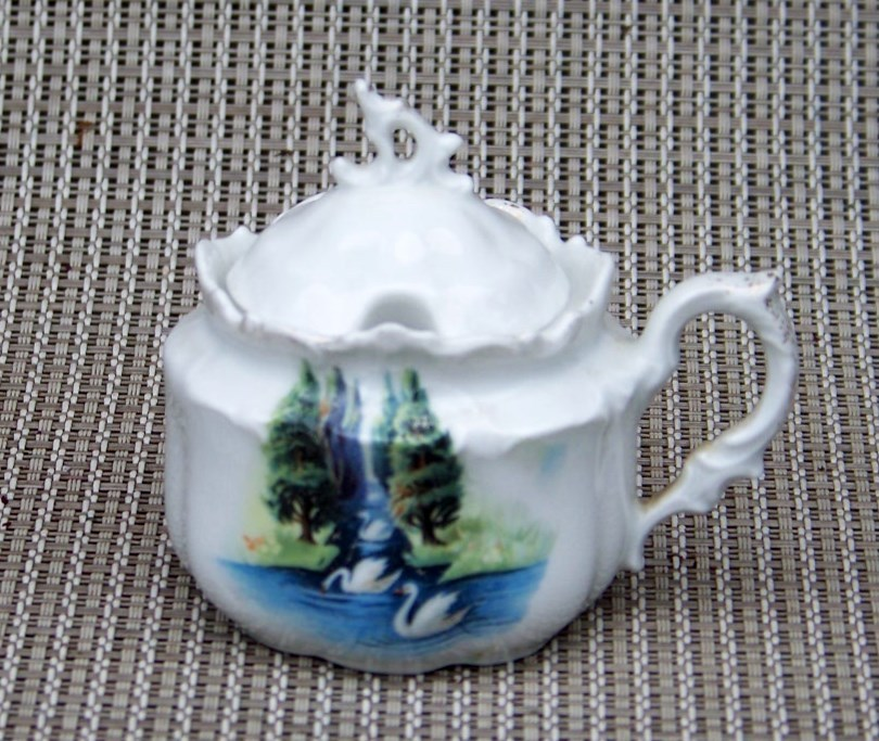 "Beautiful Vintage RS Prussia Scenic ""Swans In The Evergreens"" 3"" Mustard Pot"