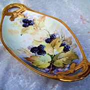 "Attractive Vintage Bavaria 1900's Hand Painted Lifelike ""Blackberries"" 10-1/2"" Tray by the Artist, ""A.L."" - Red Tag Sale Item"