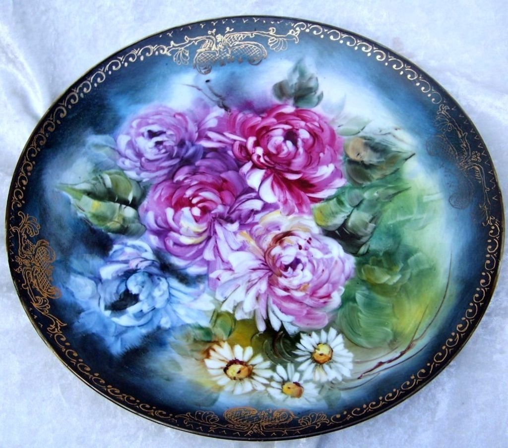 "Spectacular Bavaria 1900's Hand Painted Vibrant ""Red, Lavender, & Steel Blue Mums With Daisies"" 12"" Charger by the Artist ""M.Arisc"""