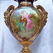 """Splendid Museum Quality Sevres France 1885 Hand Painted Double Scenic """"The Storm"""" 23"""" Heavy Gold & Cobalt Blue Urn-Lamp With Large Brass Saytr Horned Handles by the French Artist, """"Quentin"""""""