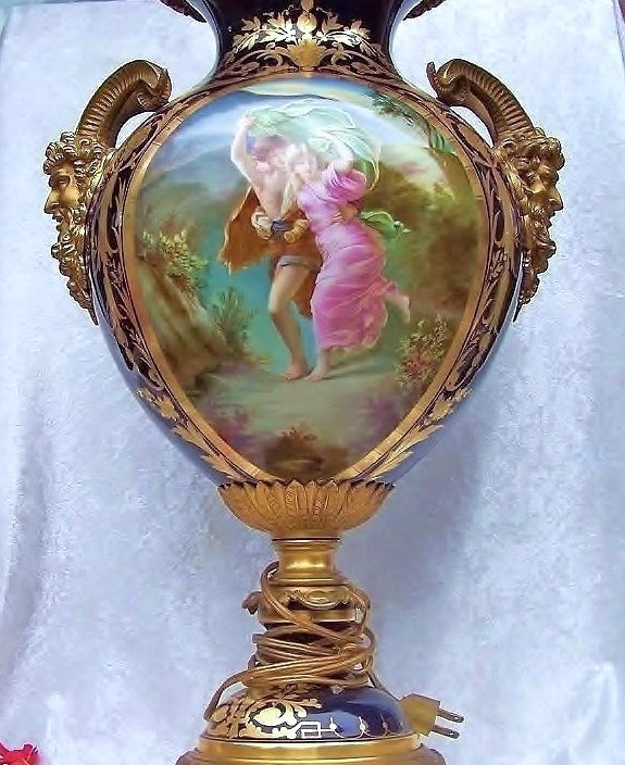 "Splendid Museum Quality Sevres France 1885 Hand Painted Double Scenic ""The Storm"" 23"" Heavy Gold & Cobalt Blue Urn-Lamp With Large Brass Saytr Horned Handles by the French Artist, ""Quentin"""