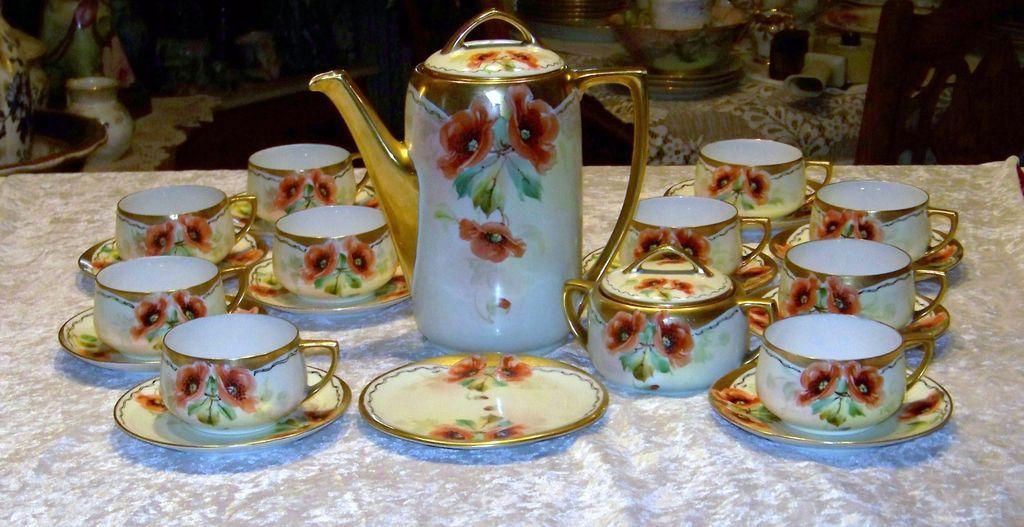 "Fabulous MZ Austria HP 1900's Vintage ""Burnt Orange Poppies"" 25 PC Tea Set W/Sugar & Trivet by Pickard Artist ""EDWARD MENTGES"""