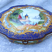 "Outstanding Vintage Sevres 1800's Hand Painted Beautiful Lake Scene  6-1/2"" Cobalt Blue Casket Dresser Box by the Listed French Artist, ""Luc"""