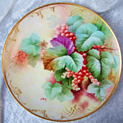 """Gorgeous Vintage Firenze Ginori 1900's Hand Painted Vibrant """"Red Currant"""" 9"""" Plate by the Artist, """"O. Bini"""""""