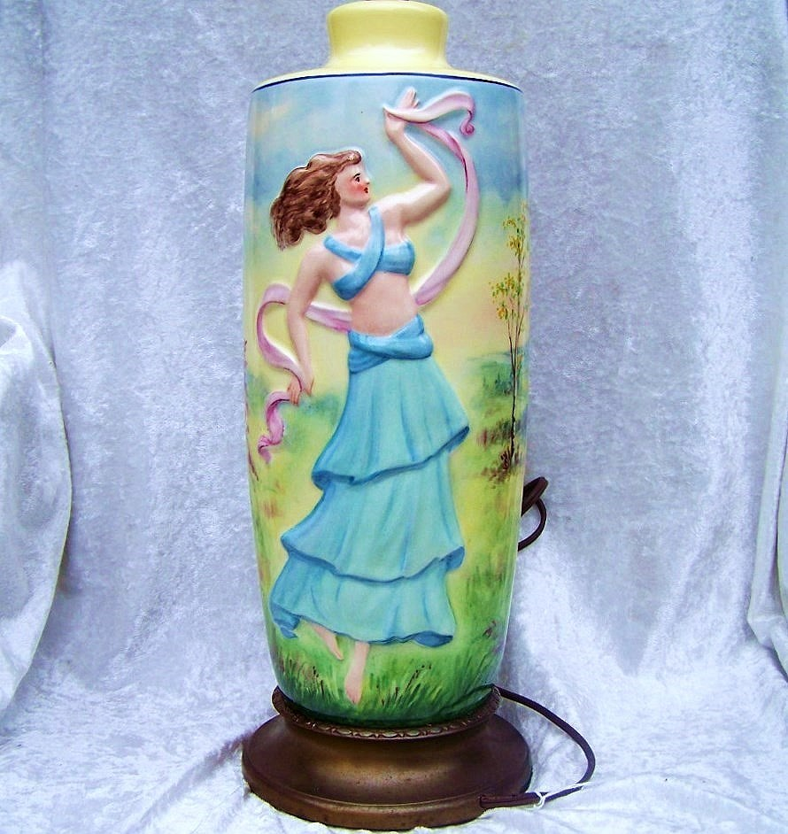 "Vintage Limoges 1920's Hand Painted Art Deco Style ""Dancing Lady With A Scarf"" Large Lamp by the Pickard Artist, ""C.F. Koenig"""