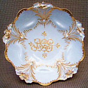 """Beautiful Vintage 1900's RS Prussia Hand Painted Custom Order """"Gold Lily Mold"""" 10"""" Bowl Decorated in the Tradition of Master China Decorator, """"William Lycett"""""""