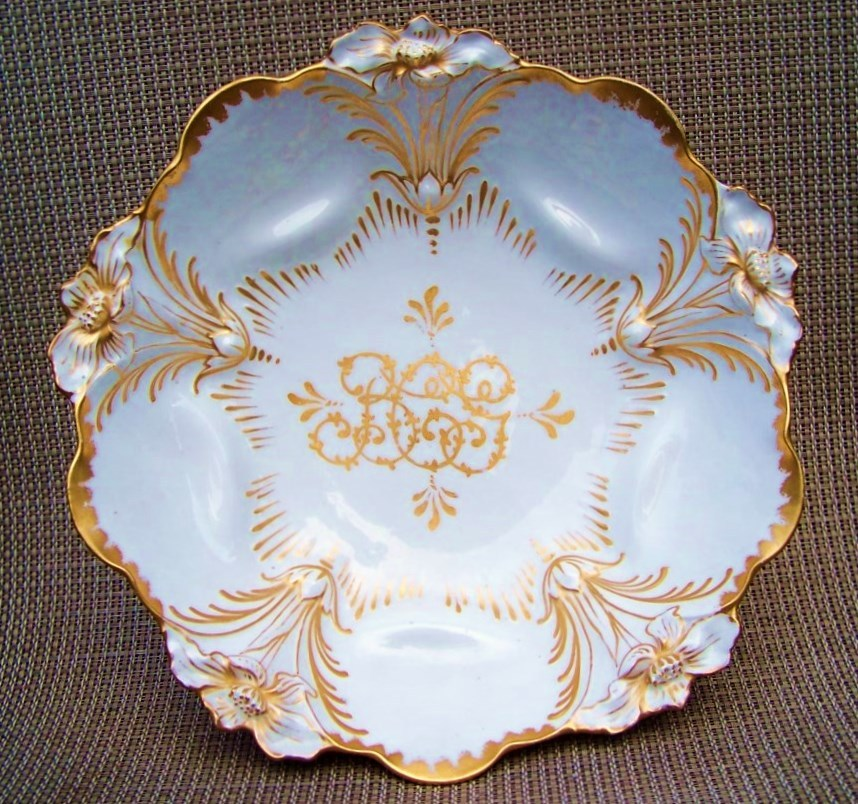 "Beautiful Vintage 1900's RS Prussia Hand Painted Custom Order ""Gold Lily Mold"" 10"" Bowl Decorated in the Tradition of Master China Decorator, ""William Lycett"""