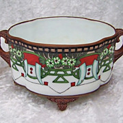 "Attractive Nippon 1900's Hand Painted Moriage ""Geometric & Floral"" 8-1/4"" 4-Footed Planter"