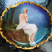 "Spectacular Blakeman & Henderson Limoges France Early 1900's Hand Painted Scenic ""Nude Maiden Frolicking in a Pond"" 12-1/2"" Heavy Gilded Gold Rococo Charger by the Well Known Listed French Artist, ""Baumy"""
