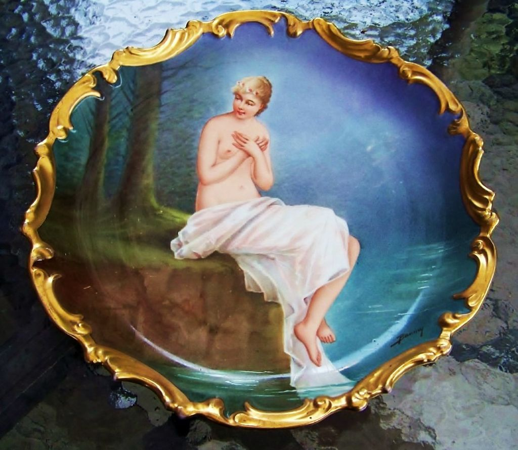 """Spectacular Blakeman & Henderson Limoges France Early 1900's Hand Painted Scenic """"Nude Maiden Frolicking in a Pond"""" 12-1/2"""" Heavy Gilded Gold Rococo Charger by the Well Known Listed French Artist, """"Baumy"""""""