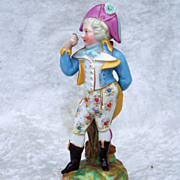 "Beautiful & Well Decorated Vintage Pre-1900 France Hand Painted ""Gentlemen in Napoleonic Era Dress"" 6"" Figurine"