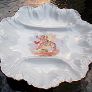 "Fancy Vintage Limoges France 1900's 3 Well ""Two Cherubs Frolicking in the Clouds"" 9-1/4"" Fancy Scallop Crimp Oyster Plate"