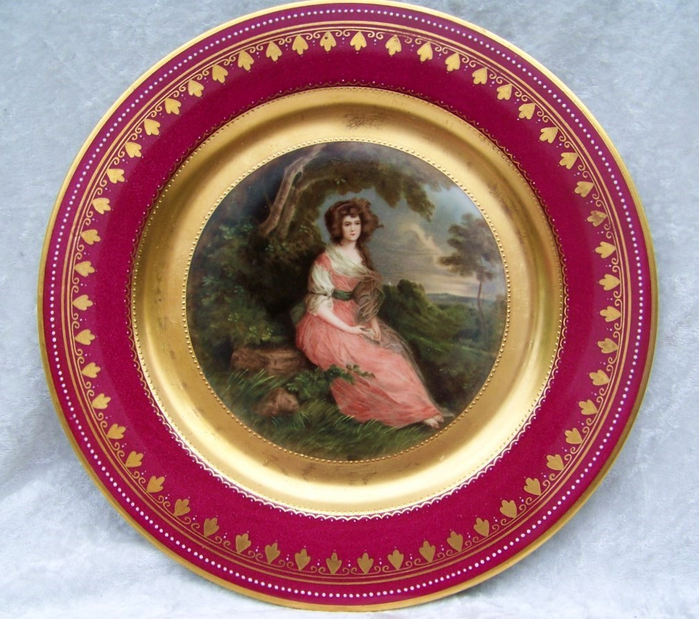 "Beautiful Royal Vienna Beehive 1900's Portrait of ""Sophia Charlotte, Lady Sheffield"" 10-3/4"" Plate, Signed ""Gainsborough"""