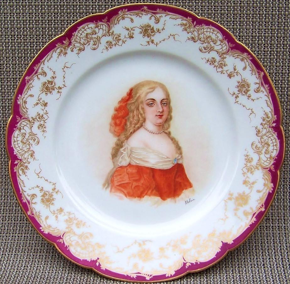 "Outstanding Sevres France 1850's Hand Painted Portrait of the ""Marquise de Montespan"" 9-3/8"" Plate by the French Sevres Artist, ""Lebrie"""
