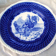 """Vintage 1920's W.T. Copeland & Sons Flow Blue Scene of """"Rooster & Several Hen"""" 10-1/2"""" Game Plate made especially for Burley & Co. of Chicago."""