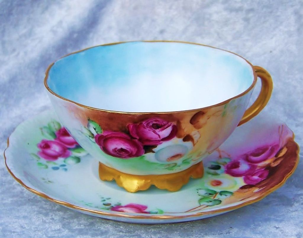 "Gorgeous & Vibrant Rosenthal Bavaria 1900's Hand Painted ""Deep Red, White & Yellow Roses"" Cup & Saucer"