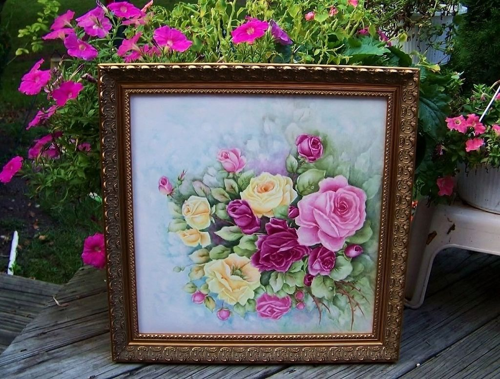 "Monumental & Exquisite Limoges Hand Painted ""Red, Pink, & Yellow Roses"" 21"" X 21"" Plaque by the Artist, ""Alma Rhoads"""