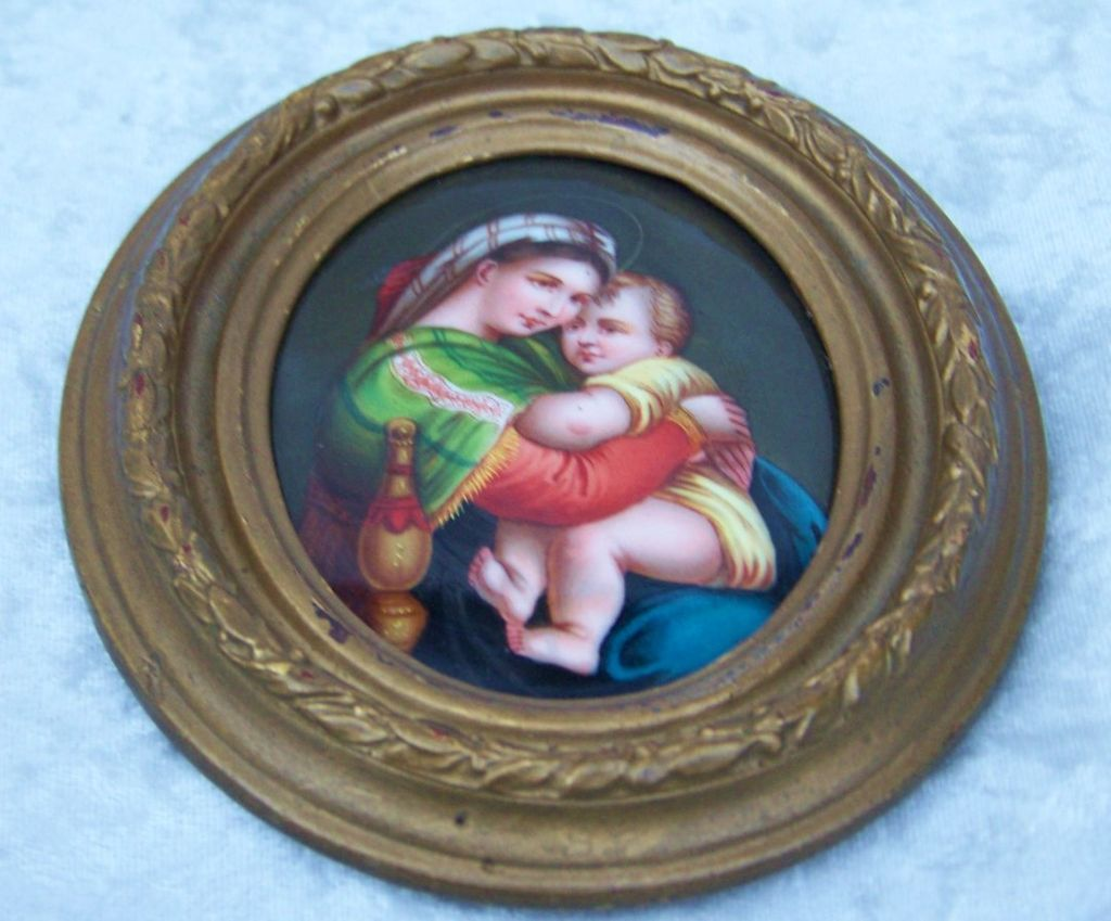 Exceptional 19th Century Antique Minature Painting on  Porcelain Plaque of Raphael's Madonna della Seggiola