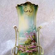 "Exceptional RS Prussia 1900's Scenic ""Sheepherder"" 9-1/2"" Art Nouveau Shaped 2-Handle Vase"